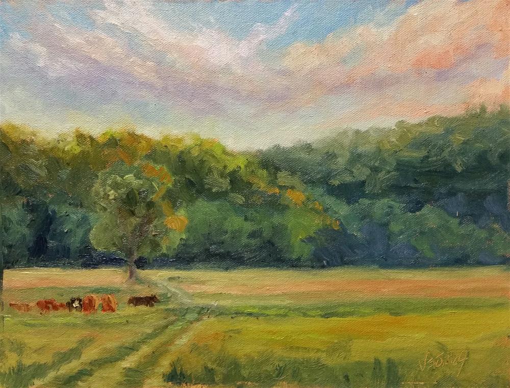 """""""Sunset at Werner Farm-en plein air"""" original fine art by Veronica Brown"""