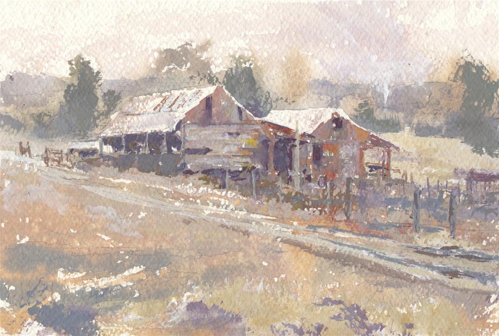 """""""Dad's Barnyard"""" original fine art by Vinita Pappas"""