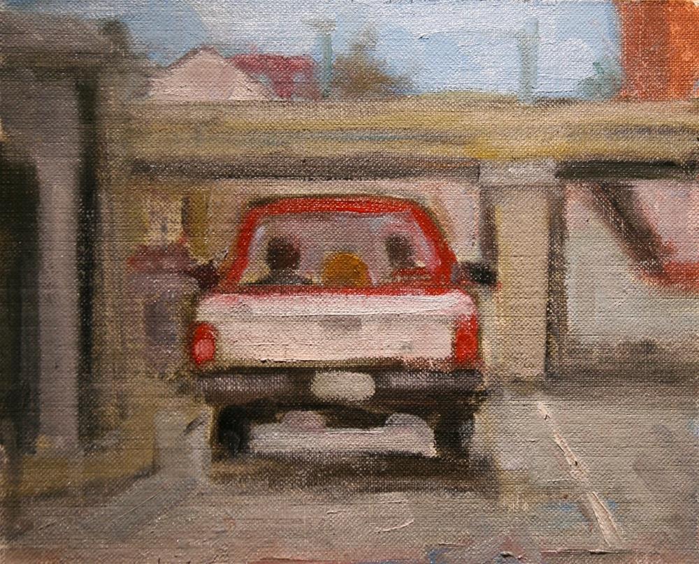 """Rover's Ride Downtown"" original fine art by Carol Josefiak"