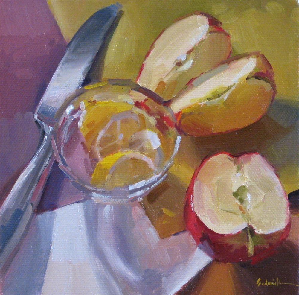 """Apple Attack a one dollar daily painting auction original fine art still life fruit"" original fine art by Sarah Sedwick"
