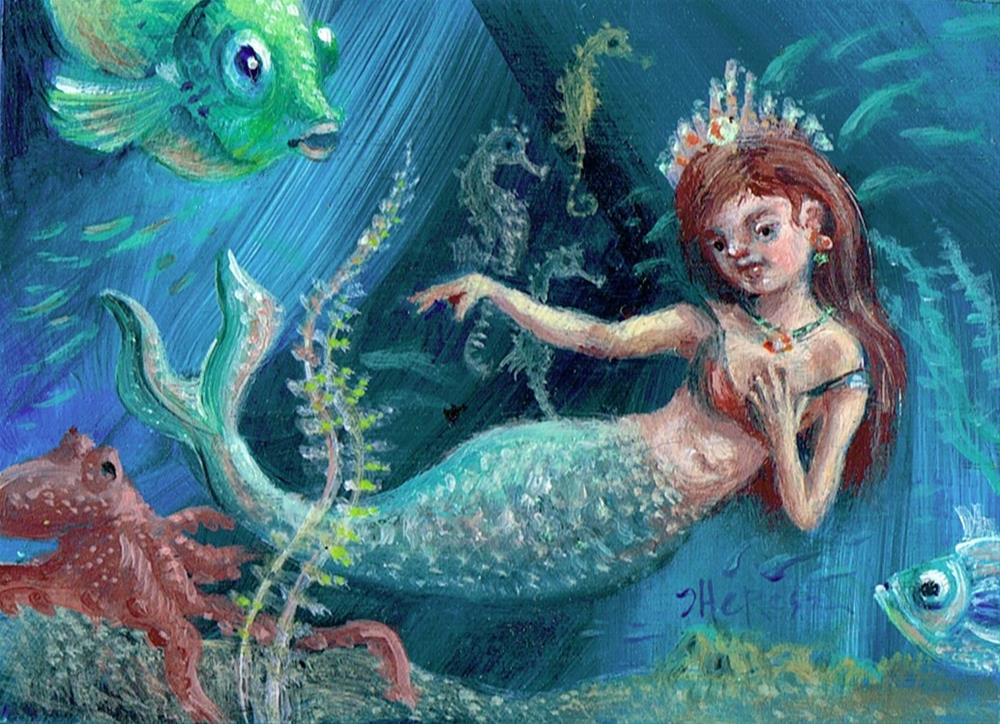 """Tiny Mermaid"" original fine art by Theresa Taylor Bayer"