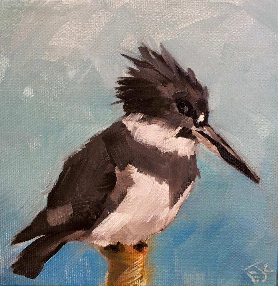 """Male Belted Kingfisher"" original fine art by Bobbie Cook"