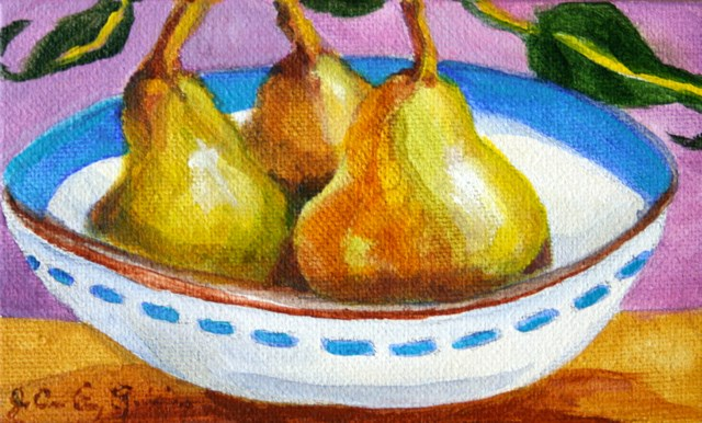 """""""One Pair and One Pear"""" original fine art by JoAnne Perez Robinson"""