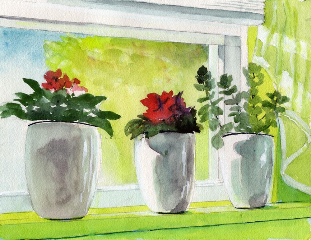 """""""Window Flower Pots"""" original fine art by Bunny Griffeth"""