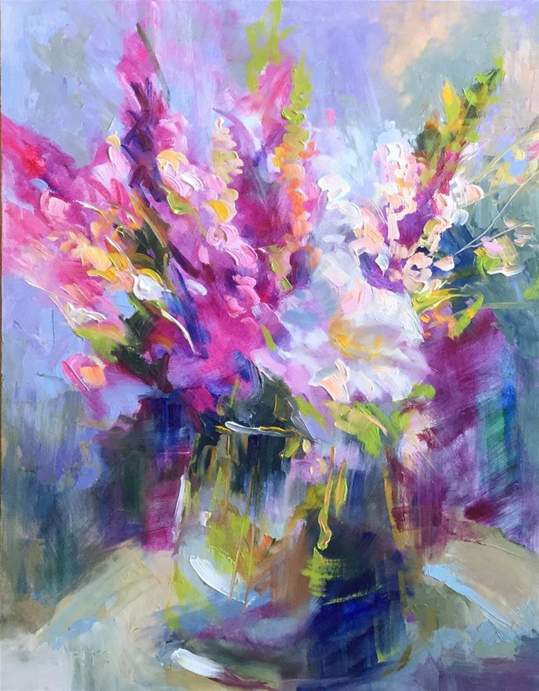 """Cheerful Blooms"" original fine art by Charlotte Fitzgerald"