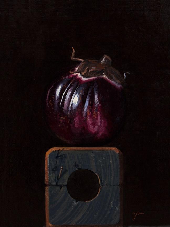 """""""Sicilian Eggplant on a Wood Block No. 2"""" original fine art by Abbey Ryan"""