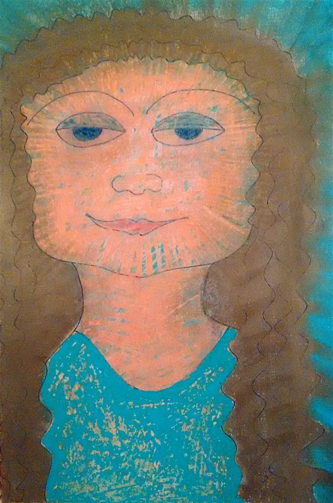 """""""Ancient Mask"""" original fine art by Adéla Svobodová"""