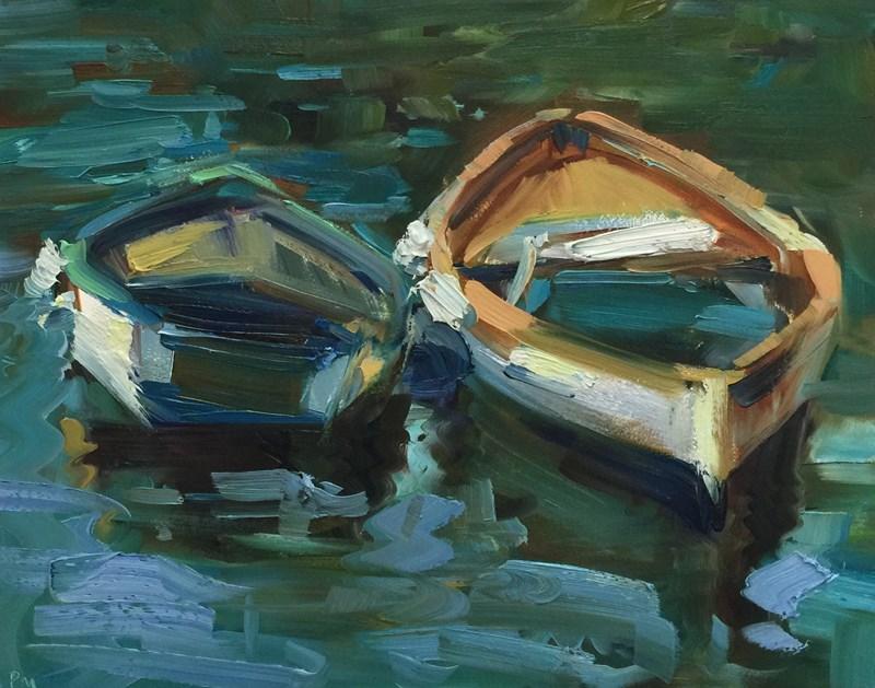 """""""Cinque Cozy Boats"""" original fine art by Patti McNutt"""