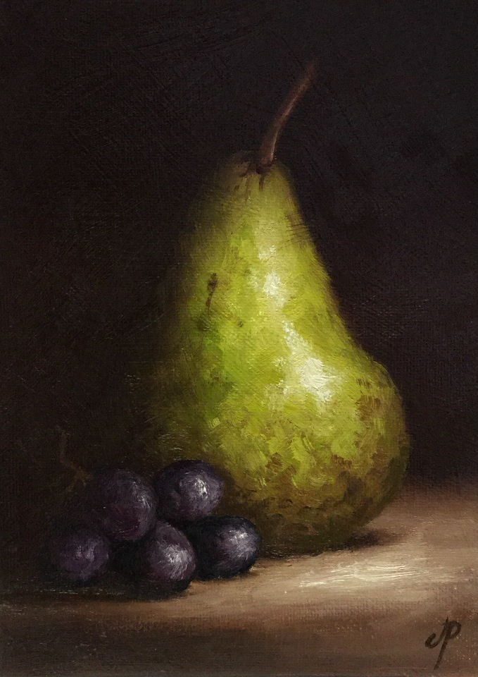 """""""Tall Pear with Grapes"""" original fine art by Jane Palmer"""