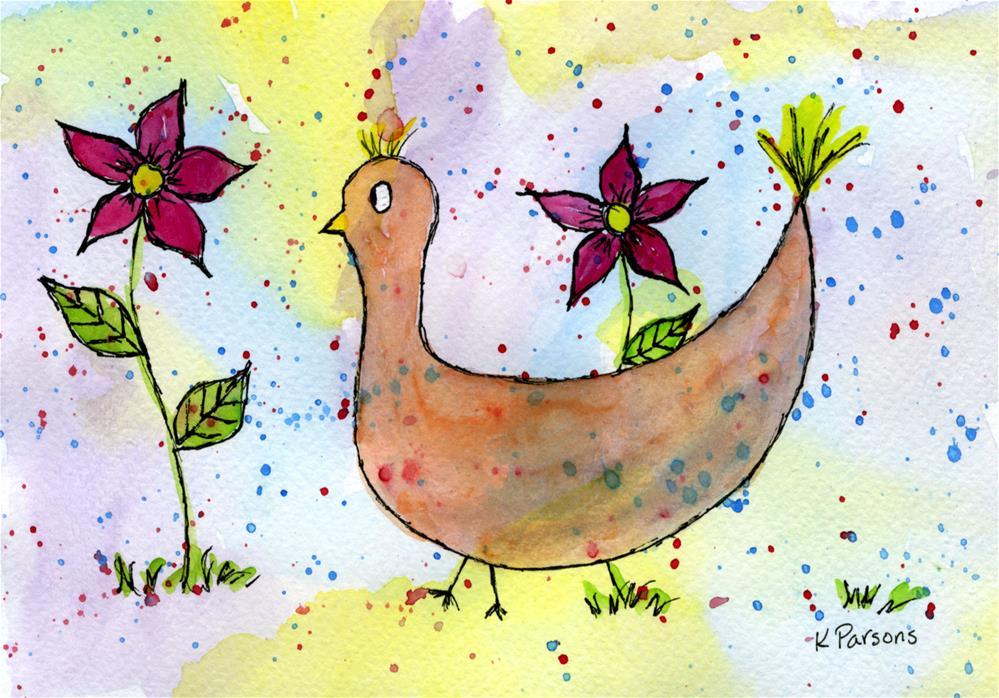 """Silly Bird"" original fine art by Kali Parsons"