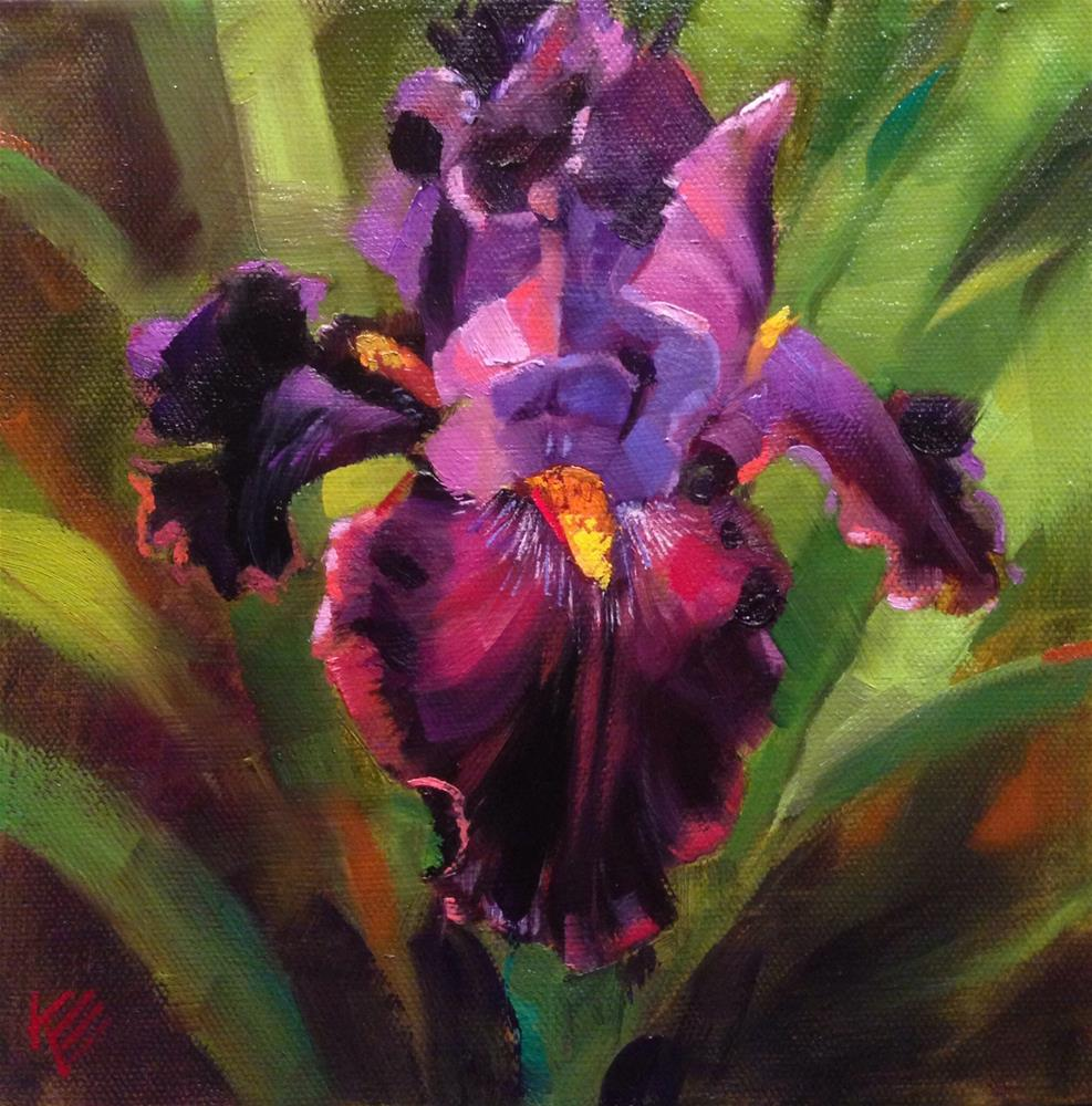 """Witches Wand - tall bearded iris"" original fine art by Krista Eaton"