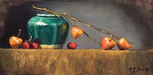 """chinese lanterns"" original fine art by Cheryl J Smith"