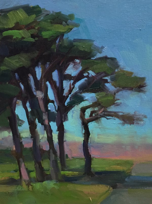 """Otter Rock Trees"" original fine art by Patti McNutt"