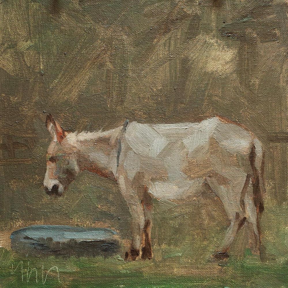 """""""donkey"""" original fine art by Yuehua He"""