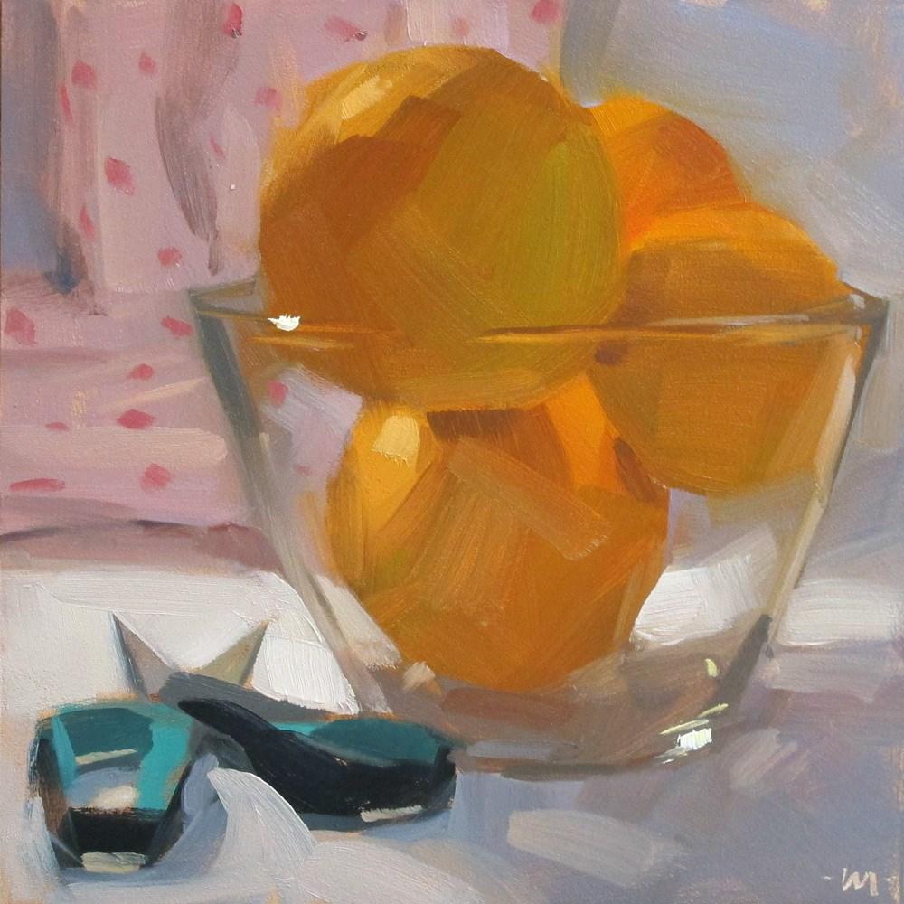 """""""Cutting Oranges"""" original fine art by Carol Marine"""