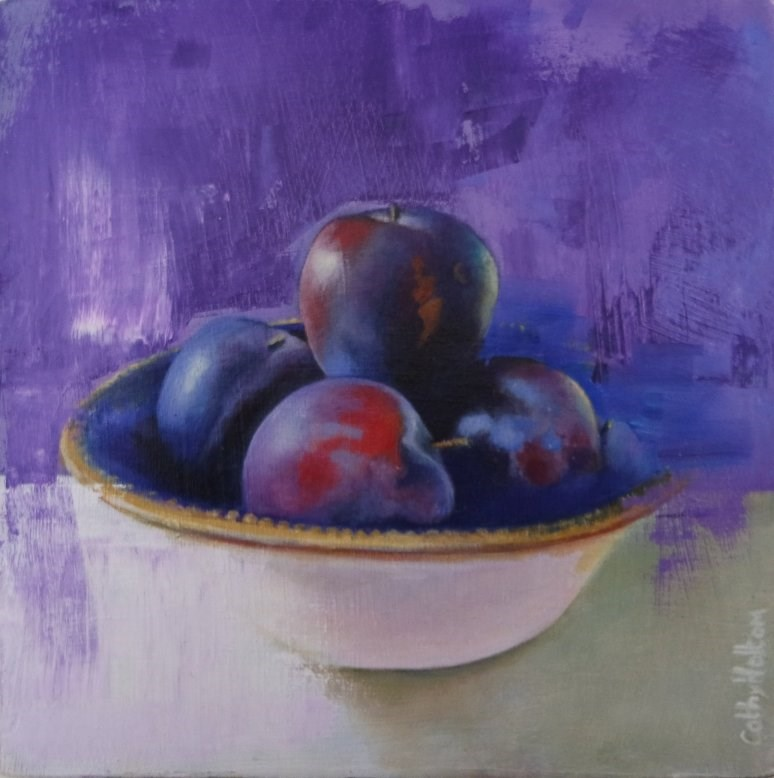 """Purple Plums"" original fine art by Cathy Holtom"