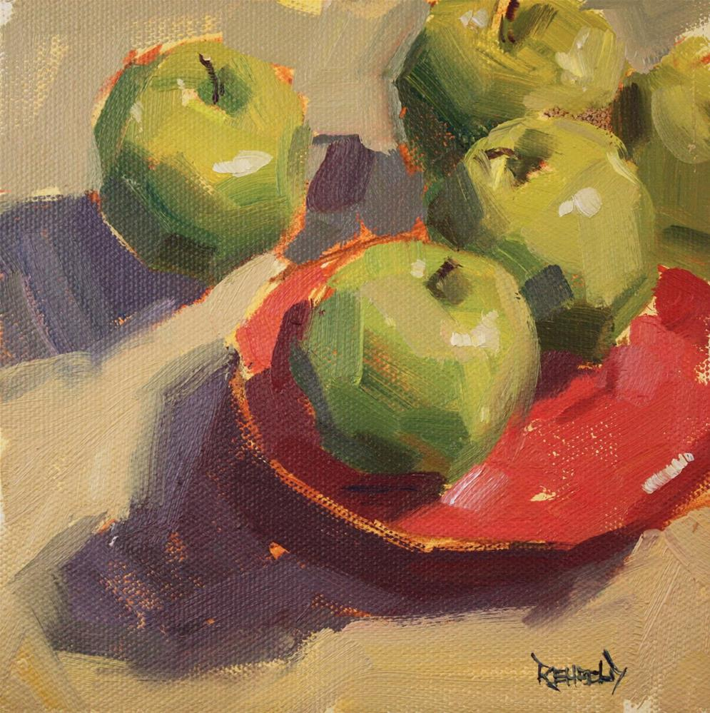 """""""Green Apples and Red Plate"""" original fine art by Cathleen Rehfeld"""