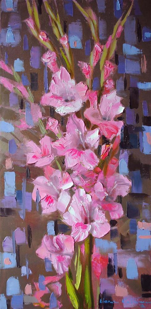 """""""Pink Gladioli"""" original fine art by Elena Katsyura"""