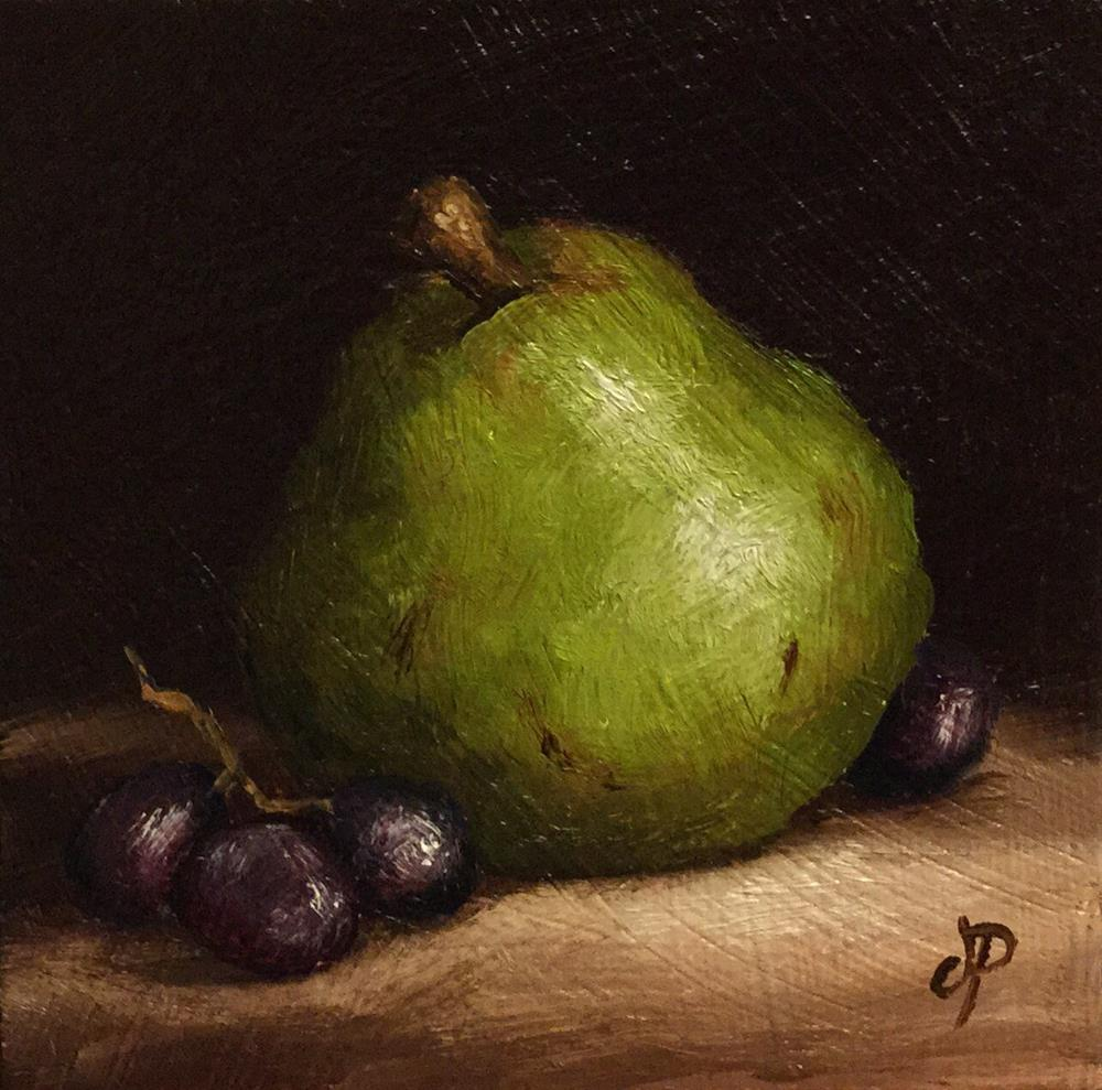 """""""Little Comice pear with grapes"""" original fine art by Jane Palmer"""