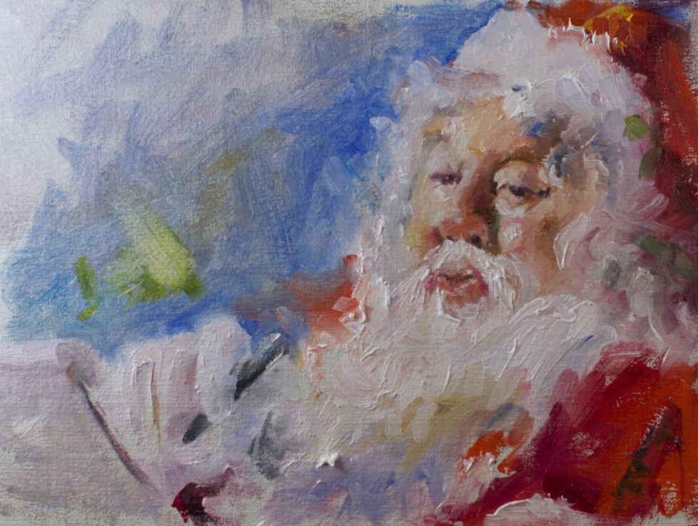 """""""Let's see what the elf has reported"""" original fine art by Sue Churchgrant"""