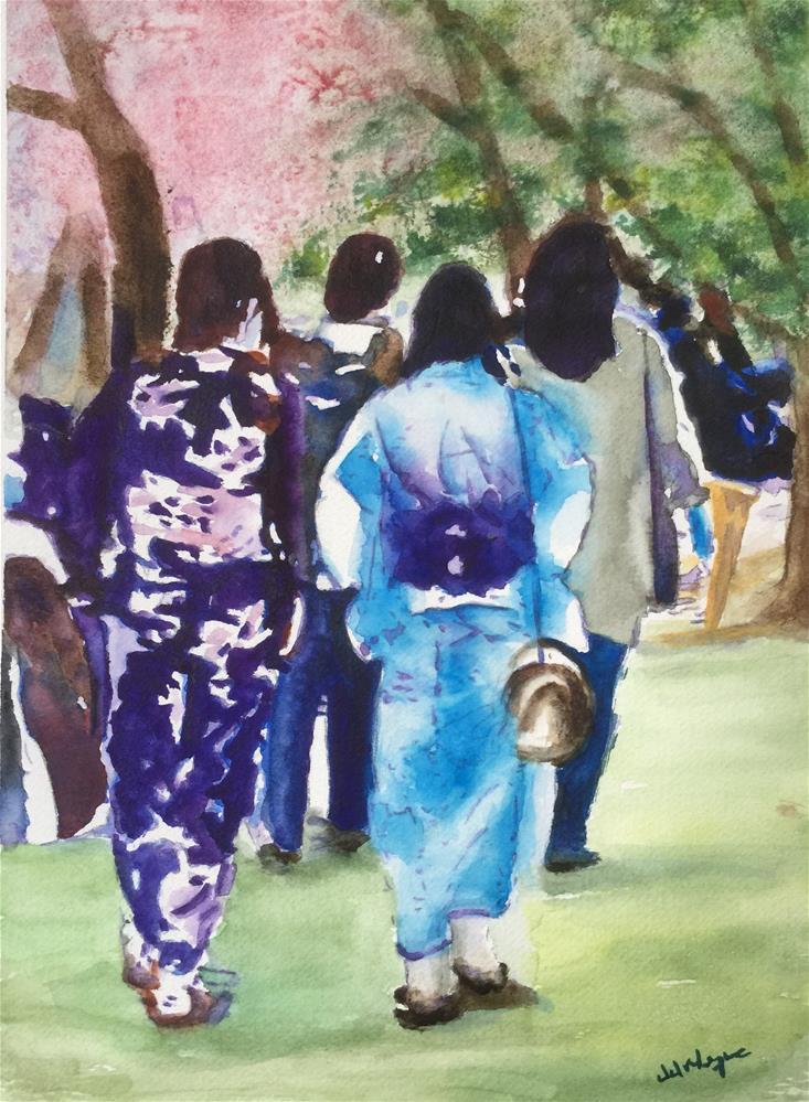 """Kimono Ladies"" original fine art by Juan Velasquez"