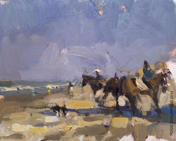 """""""Horses on a Saturday Morning"""" original fine art by Roos Schuring"""
