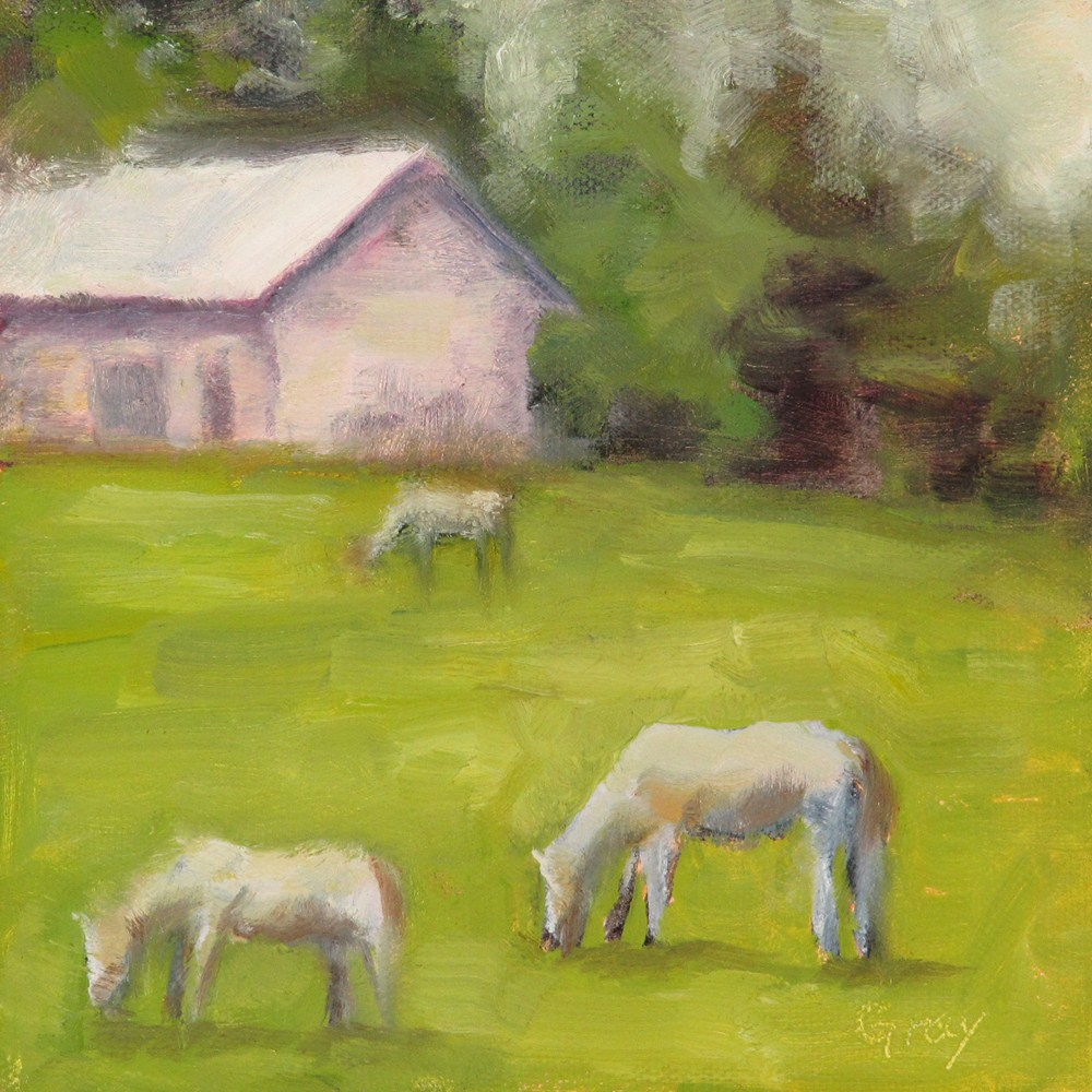 """Pink Shack and Horses"" original fine art by Naomi Gray"