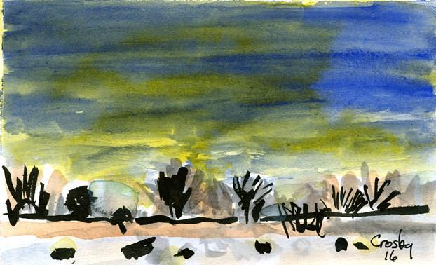 """Sun Below Trees"" original fine art by Donna Crosby"