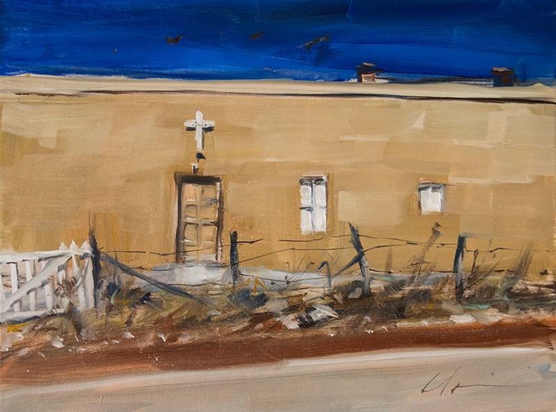 """""""Roadside Church"""" original fine art by Clair Hartmann"""