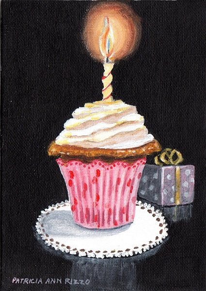 """Birthday Cupcake"" original fine art by Patricia Ann Rizzo"
