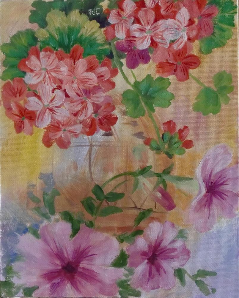"""Geranium and Petunias"" original fine art by Jean Pierre DeBernay"