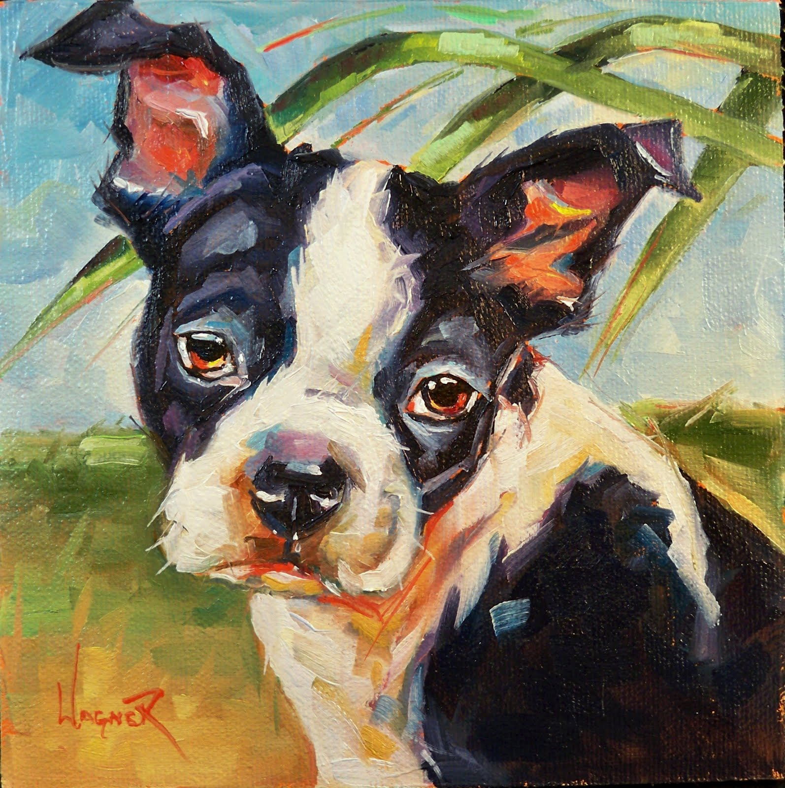 """SAD BOSTON TERRIER PUP"" original fine art by Olga Wagner"