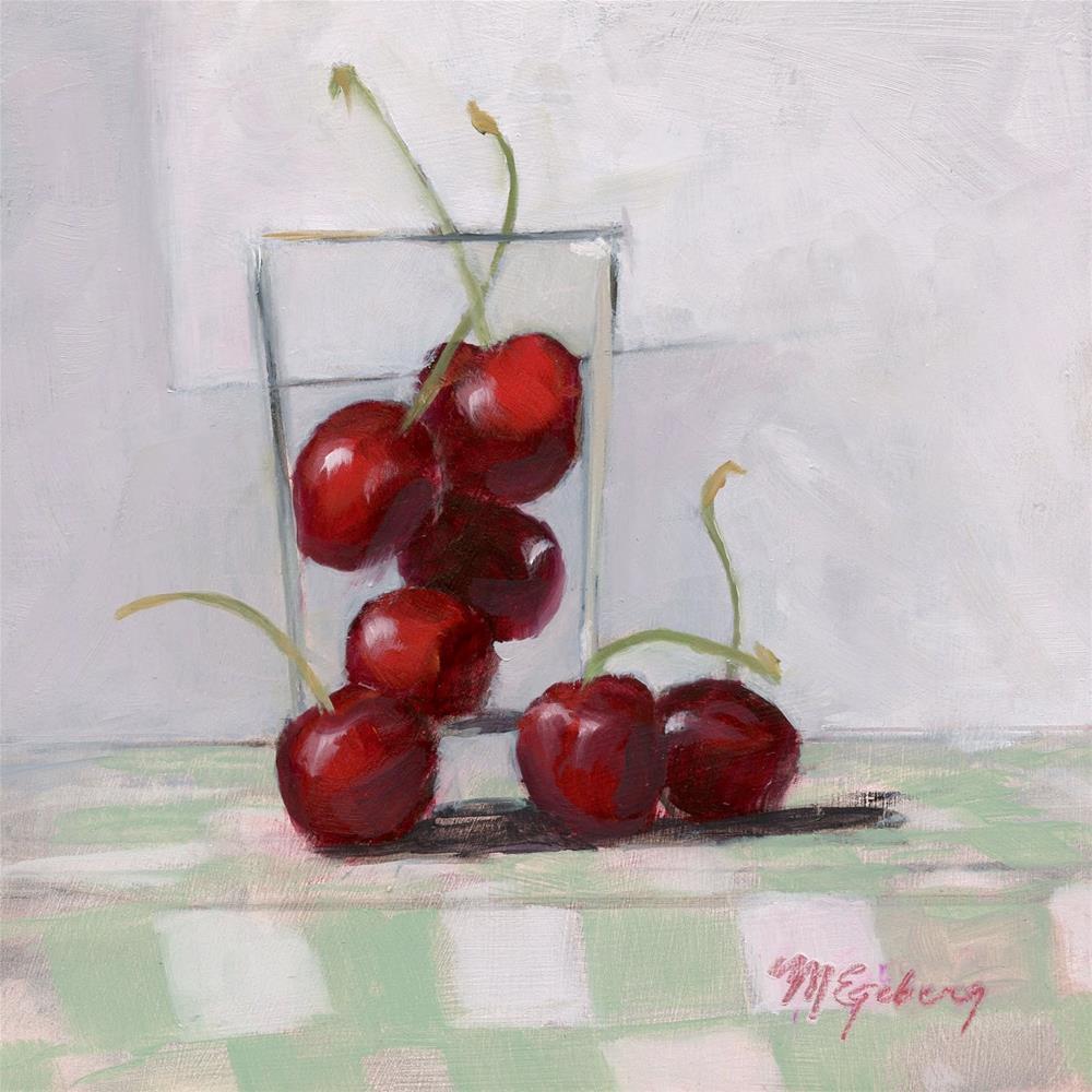 """""""Greeen Checks and Cherries"""" original fine art by Mitch Egeberg"""