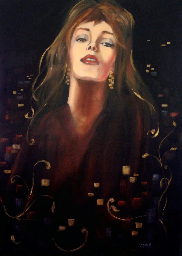 """""""Touch of Gold, 18x24 Oil on Canvas, Portrait of Woman with Gold and Black"""" original fine art by Carmen Beecher"""
