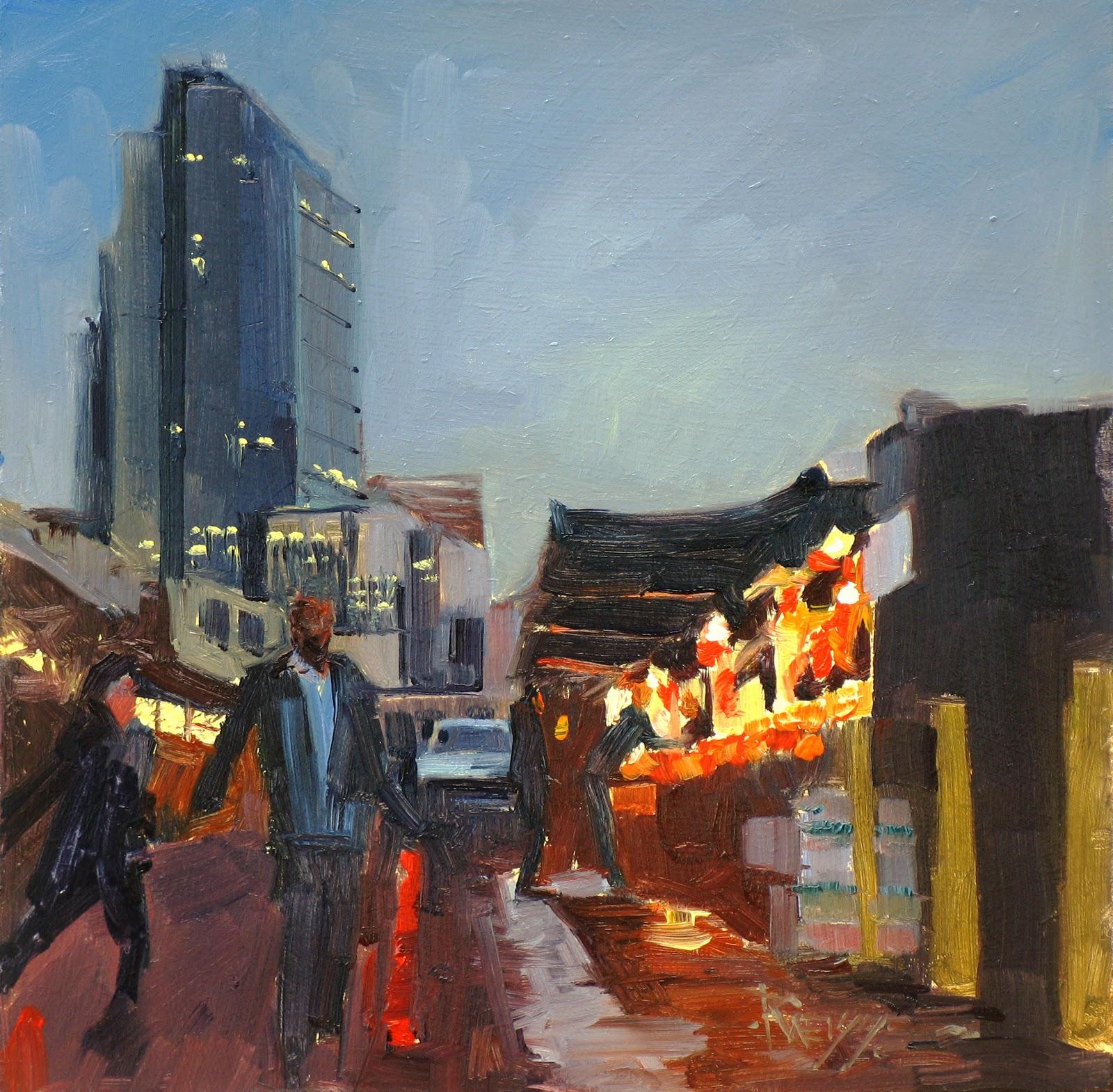 """Last Vendor Open  Pike street market, Seattle city oil painting"" original fine art by Robin Weiss"