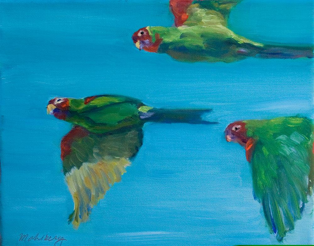 """""""Red Masked Parakeets"""" original fine art by Cynthia Mahlberg"""