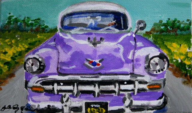 """Purple Chevy"" original fine art by JoAnne Perez Robinson"