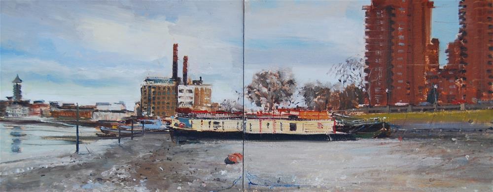 """The Chelsea Riverside on a Grey Day"" original fine art by Adebanji Alade"