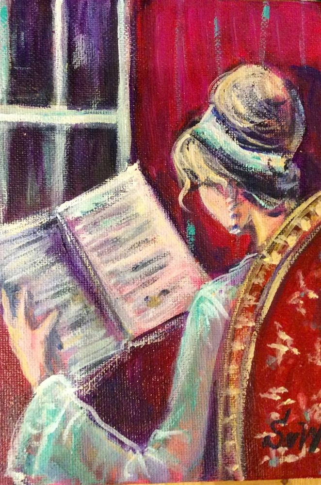 """Reading in red room"" original fine art by Sonia von Walter"