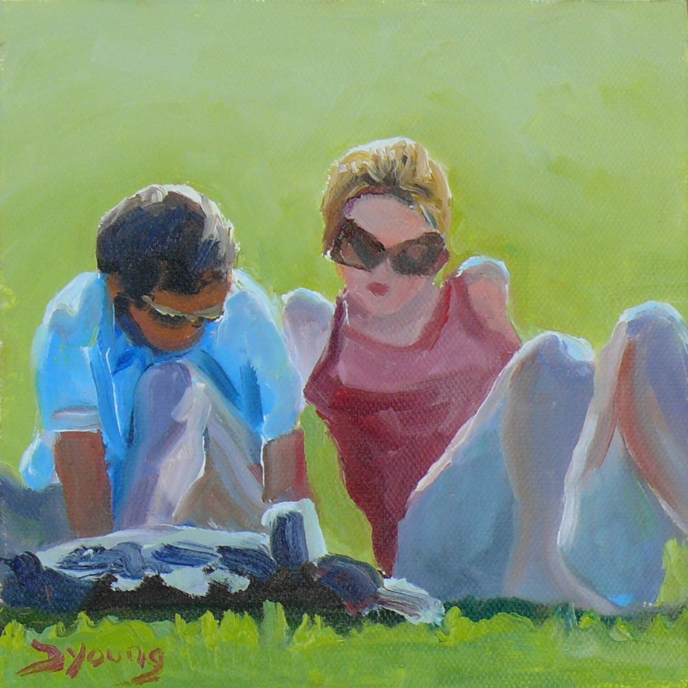 """""""On the Lawn, oil on caves board, 6x6"""" original fine art by Darlene Young"""