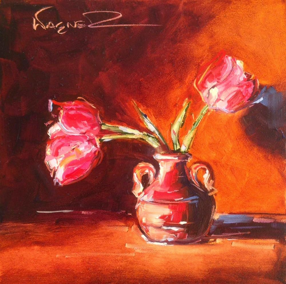 """""""ORIGINAL CONTEMPORARY TULIP FLORAL PAINTING by OLGA WAGNER"""" original fine art by Olga Wagner"""