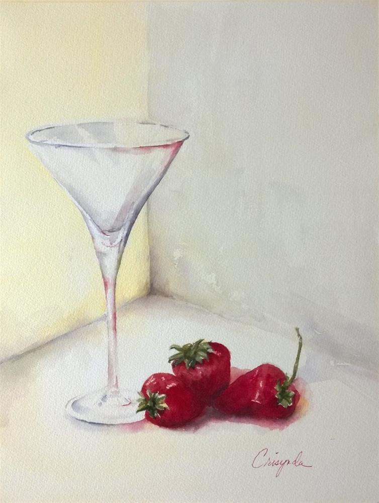 """Strawberry Martini"" original fine art by Crisynda Buss"