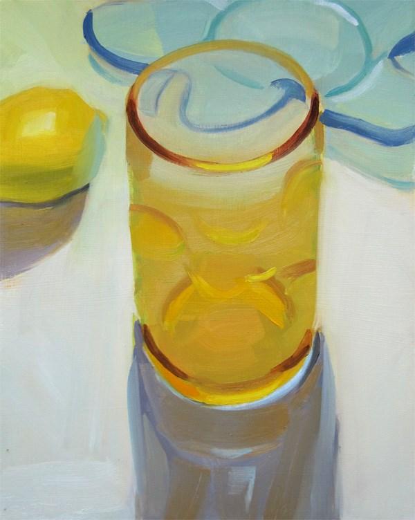 """Amber Bubble Glass and Lemon"" original fine art by Robin Rosenthal"