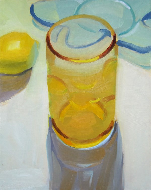 """Amber Bubble Glass and Lemon"" original fine art by Robin Rosenthal"