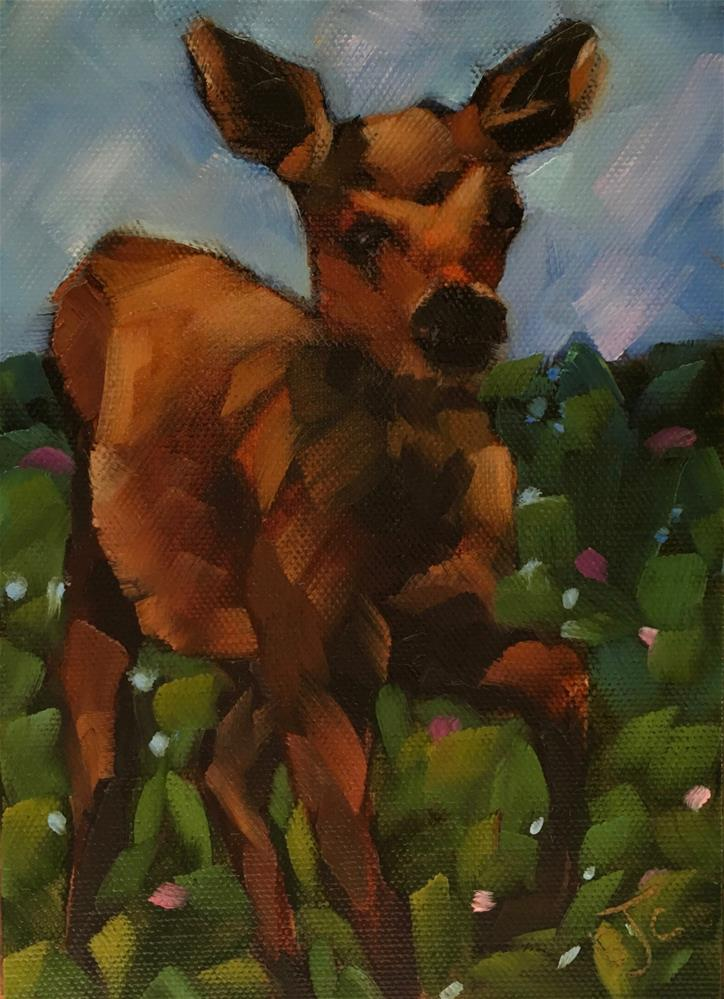 """Moose Calf"" original fine art by Bobbie Cook"