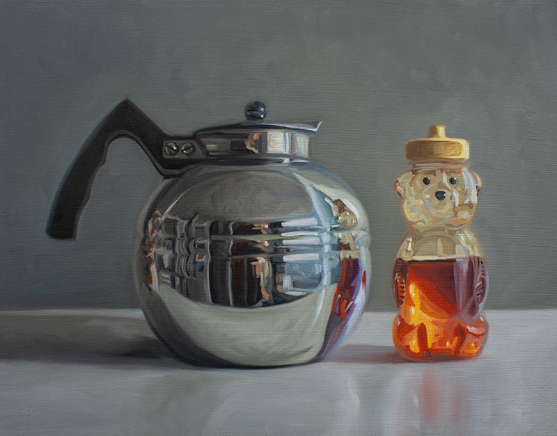 """Reflective Tea Kettle and Honey Bear"" original fine art by Lauren Pretorius"