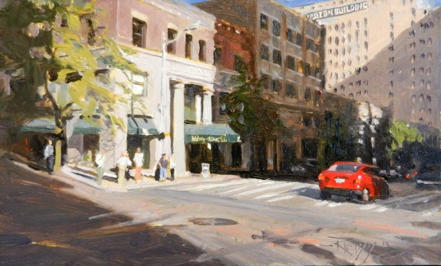"""The Metropolitan Grill  Seattle city, urban , oil painting by Robin Weiss"" original fine art by Robin Weiss"