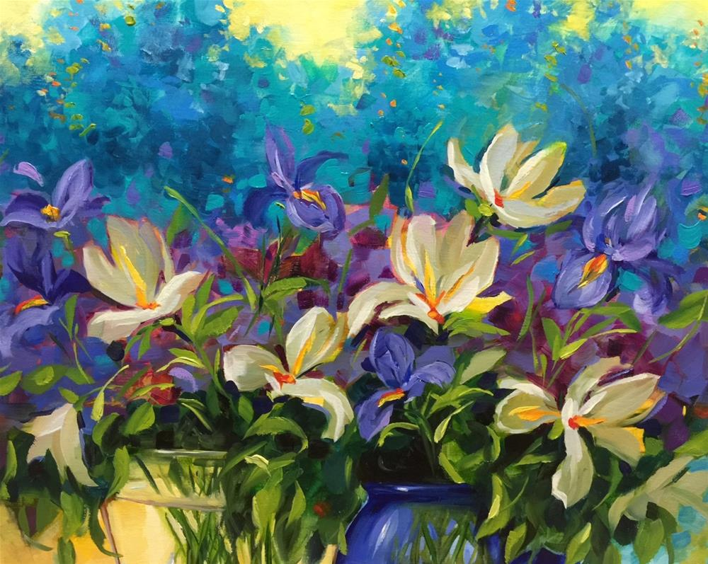 """""""Out of the Blue Delphiniums and Iris and a Special Visitor in the Studio - Flower Paintings by Nancy"""" original fine art by Nancy Medina"""