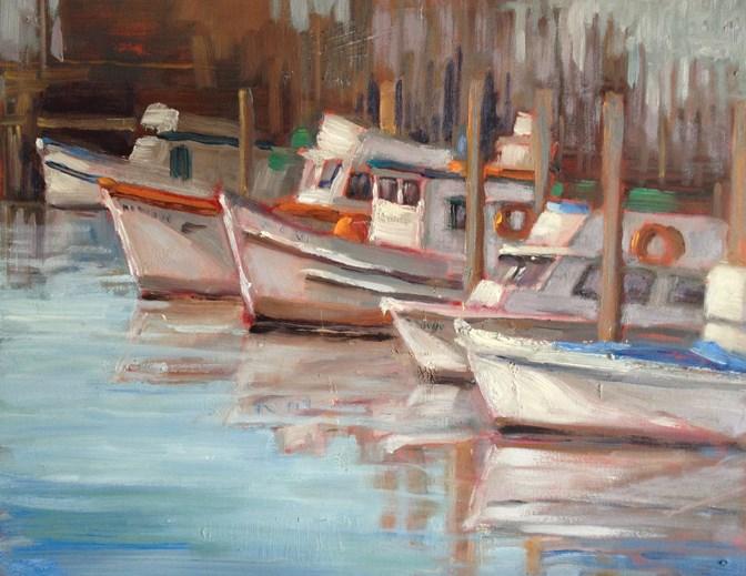 """Fishing Boats at the Wharf"" original fine art by Deborah Newman"