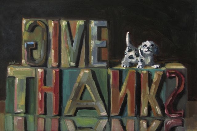 """GIVE THANKS"" original fine art by Mb Warner"